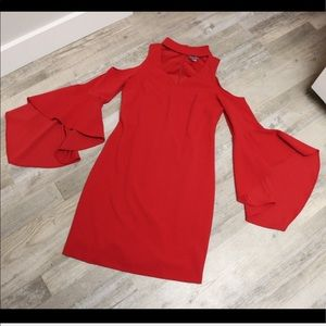 Vince Camuto Dresses - Vince Camuto Red Party Dress with choker neckline